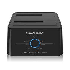 WAVLINK 5Gbps USB 3.0 to SATA Dual-Bay 2.5 3.5 Inch HDD SSD Enclosure Hard Drive Docking Station
