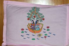 Madhubani Art Pillow Cover 'Newlyweds on the sail' set of two for Rs.650.To buy this mail at kohbarg@gmail.com
