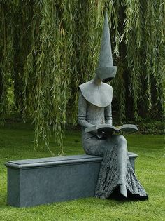 "Bronze sculpture ""Reading Chaucer"" by Philip Jackson Height : 180 cm / 71"" Width : 140 cm / 56"" Depth : 98 cm / 39"""