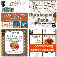 8 great packs of Thanksgiving themed pre k worksheets for preschoolers & toddlers. Coloring pages, worksheets, do at dot printables, and more!