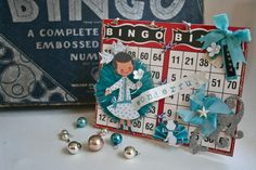 """Tie bingo cards together to create a larger canvas! You can also """"tent"""" the cards so that you can easily display your creation Vintage Christmas, Christmas Ideas, Bingo Board, Shadow Box Art, Diy Banner, Art Cards, Card Crafts, Creating A Blog, Vintage Valentines"""