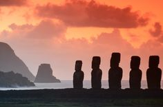 Moai Ahu Tongariki, Easter Island, Chile: The country's most far-flung territories include Easter Island, far out in the Pacific Ocean, home to a now extinct civilisation and the world-famous moai (stone statues).