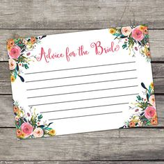 Floral Advice for the Bride Cards  Bridal Shower by PartyPrintery