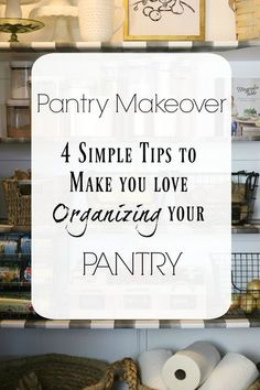 Sometimes a big pantry can become a catch all for all of your junk! On the blog, I'm sharing how to organize your pantry into a beautiful, useful space using wallpaper and some pretty baskets. sponsored #organization #pantry