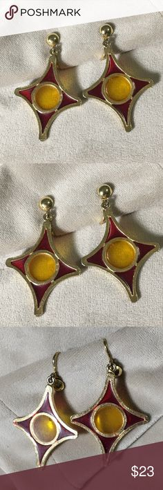 """Vintage Red & Yellow Stained Glass Style Earrings Vintage red and yellow stained glass earrings. Clip-on style but could easily be changed to standard piercing style fish hooks. Good condition. Measure 2"""" long and 1.25"""" wide. Vintage Jewelry Earrings"""