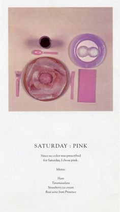 Sophie Calle colour-coded menu