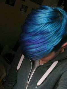 50 styles of blue hair that must be seen to believe 50 fun blue hair ideas to become more adventurous with your hair Unique Combo Blue Fade This beautiful blue combo starts with a dark blue root and . Men Hair Color, Hair Color Blue, Cool Hair Color, Purple Hair, Long Pixie Hairstyles, Cool Hairstyles, Pixie Haircut, Short Blue Hair, Shaved Pixie