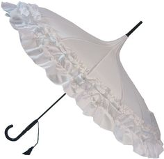 Gigi Double Frilled White Parasol