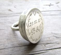 I love this SO MUCH! Beautifully romantic sterling silver, personalized statement ring sterling silver by hellothula on @etsy