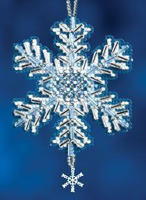 Mill Hill Ice Crystal - Beaded Cross Stitch Kit. Kit Includes: Beads, charms, perforated paper, needles, floss, chart and instructions. Size: 2.3 x 2.75.