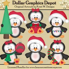 Christmas Penguins Clip Art Set - *DGD Exclusive* - Created by Kristi W. Designs - Great for printable crafts, scrapbooking, embroidery patterns, and more! www.DollarGraphicsDepot.com