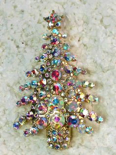 Stunning Clear AB Rhinestone Crystal Christmas Tree Pin Brooch