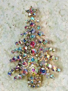 STUNNING CLEAR AB RHINESTONE CRYSTAL CHRISTMAS TREE PIN BROOCH
