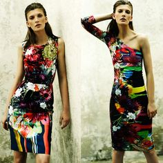 Resort 13 | Preen. Preen's Resort 13 collection features photographic oversized florals melded with painterly or graphic stripes. The results are fresh and beautiful! (Posted by Pattern People)