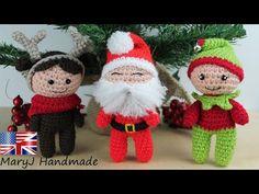 Amigurumi Santa Claus, reindeer doll and elf | body pattern - YouTube