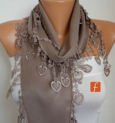 Beige Scarf  - LOVE - HEART Lace