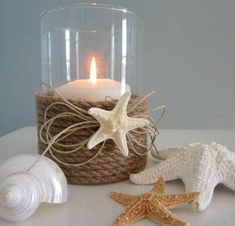 Nautical Decor Candle Holder w Nautical Rope and Starfish – via Etsy. [ez DIY can make: hurricane lamp or large votive candle holder (mason jar would work too)/med size candle/twine and starfish motif – use a hot glue gun to wrap the twine around the Rope Crafts, Beach Crafts, Shell Crafts, Diy And Crafts, Mason Jar Candle Holders, Mason Jars, Handmade Candles, Beach Themes, Beach Ideas