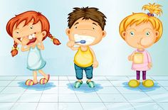 Buy Caring for Teeth by interactimages on GraphicRiver. Kids caring for teeth illustration Teeth Health, Healthy Teeth, Oral Health, Dental Health, Dental Care, Dental Floss, Healthy Habits, Alone Art, Dental Kids