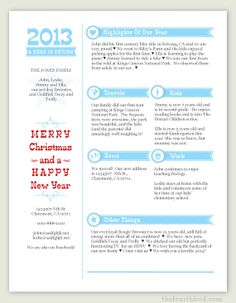 Mint Year In Review  Christmas Letters    Christmas