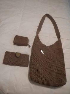$35 - The Sak Tan Crochet Hobo Bag with Wallet Set