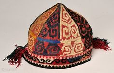 This is a 75 year old Uzbek hat. It is in very good condition with great colors and a great design. It is from the Clute collection.