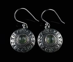 GIFT FOR ST. PATRICKS DAY PREHNITE STONE EARRINGS 925 SOLID STERLING SILVER E47 #Unbranded