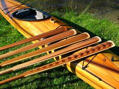 Each one of our Greenland paddles is handcrafted, fully laminated using different shades of Western Red Cedar, and topped off with uniqu. Kayak Paddle, Canoe And Kayak, Sea Kayak, Wooden Kayak, Wooden Paddle, Greenland Paddle, Kayaking Gear, Canoeing, Western Red Cedar