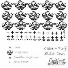 Crochet puff stitch pattern diagram