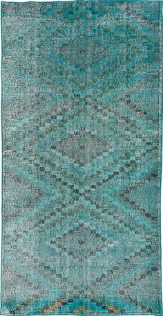 Hand-knotted Color Transition Teal Wool Rug