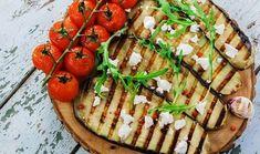 Ψητές μελιτζάνες με βινεγκρέτ φέτας και δυόσμου Vegetable Pizza, Good Food, Interesting Recipes, Vegetables, Cooking, Kitchen, Vegetable Recipes, Healthy Food, Brewing