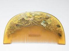 Antique Kanzashi Kushi Japanese Ornamental Hairpin Comb Kimono Geisha H 61   eBay