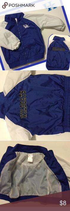 Univ. Of Kentucky windbreaker rain jacket blue & white sz 12 mon.  Wildcats Univ. Of Kentucky windbreaker rain jacket blue & white sz 12 mon.  Wildcats Shirts & Tops