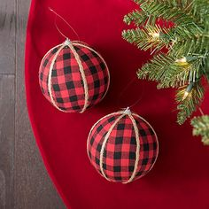 Red and Black Buffalo Check Ornaments, Set of 2 from Kirkland's Primitive Christmas Ornaments, Country Christmas Decorations, Christmas Ornaments To Make, Christmas Bulbs, Christmas Crafts, Christmas Ideas, Homemade Christmas, Holiday Ideas, Holiday Decor