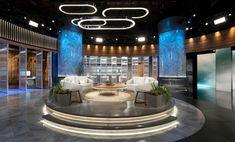 Chasing the Cure Broadcast Set Design Gallery Tv Set Design, Stage Set Design, Lounge Design, 3d Studio, Studio Design, Luxury Private Jets, Virtual Studio, Tv Sets, Tv Decor