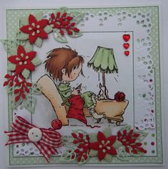 Daisy knitting stamp coloured with Copics, card embellished with Marianne die cuts