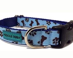 """Puppy Power - Blue Dog Collar   3/4"""" width for Small to Medium Dogs"""