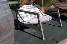 Lounge chair I made using an old garden table top and some timber sides reclaimed from the nearby beach after a storm - Panarea, Italy