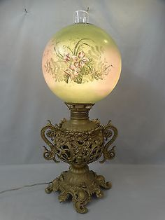 19thC-Antique-ART-NOUVEAU-Era-ROCOCO-Style-GLASS-Victorian-GWTW-Old-BANQUET-LAMP