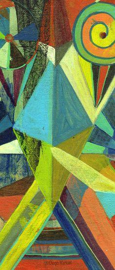 Astrapop 24, acrílico sobre tela, 26,5 x 17 cm. 2015. Abstract colorful painting