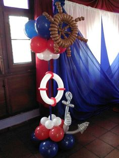 Cool Balloon ideas for a Nautical theme Baby Shower Parties, Baby Shower Themes, Baby Boy Shower, Baby Shower Decorations, Shower Centerpieces, Balloon Tower, Balloon Columns, Sailor Birthday, Pirate Birthday