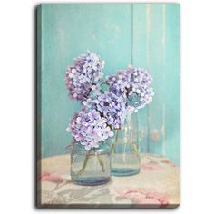 """DiaNocheDesigns 'Hydrangeas in Mason Jars' by Sylvia Cook Painting Print on Wrapped Canvas Size: 24"""" H x 18"""" W x 1.5"""" D"""