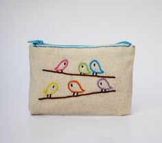 birds coin purse - hand embroidery on linen - zipper pouch - handembroidered bag - handmade by NIARMENA on Etsy (null)