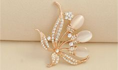 Perfect Design Micro Pave Zirconia Alloy Flower Brooch with Cat's Eye