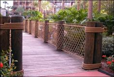Creating tropical themed Hotels and Resorts are one of our largest sectors. Adding rope netting, bamboo, thatch and eucalyptus are the perfect combinations. Check out some of the gorgeous results in the gallery. Rope Fence, Rope Railing, Diy Fence, Deck Railings, Fence Ideas, Railing Ideas, Pond Ideas, Nautical Landscaping, Landscaping Ideas