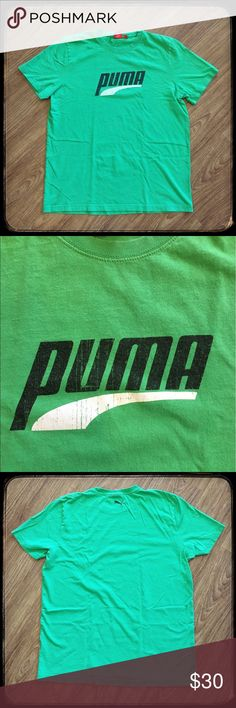 "Men's Puma green shirt with black & white logo 📦Same day shipping if P.O. Open ❤ Measurements approximate. Descriptions accurate to the best of my knowledge.  Men's Puma green shirt with black & white logo  Men's classic Puma t-shirt: green with Black and white logo on front and black Puma cat logo on back. Material tag has been removed but it is a cotton blend. Size large. Flat measurements: 21.75"" across chest, 27.5"" long. Normal wear from use: no holes/stains. Smoke/pet free home. Close…"