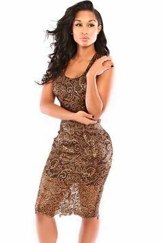 Bronze Classic Lace Midi Dress