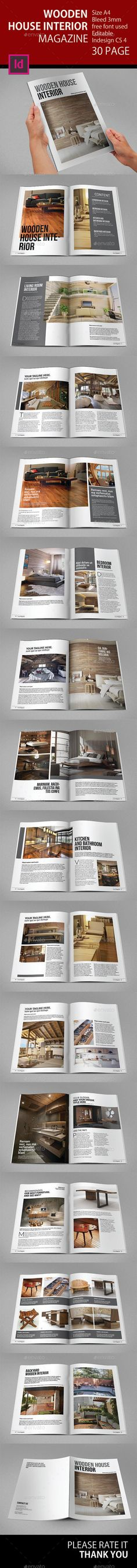 A4 Wooden House Interior Magazine Template #design Download: http://graphicriver.net/item/a4-wooden-house-interior-magazine/12106888?ref=ksioks