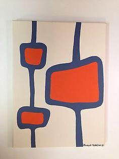 Original Art -Vintage Retro abstract Mid Century Modern Danish style Painting