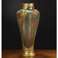 AN ORIVIT-METALLWARENFABRIK, COLOGNE ART NOUVEAU GILT SPELTER MOUNTED CAMEO VASE EARLY 20TH CENTURY greenish glas overlaid with lilies, the metal mount marked Orivit 2545G