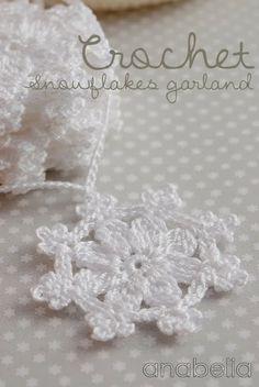 Crochet snowflakes garland - Anabelia Handmade